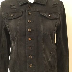 Blank NYC Jackets & Coats - BLANKNYC BLACK DENIM JACKET MEDIUM NWT DISTRESSED